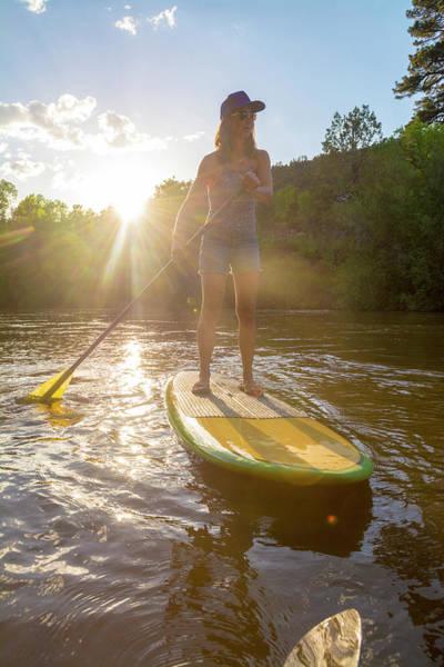 A Woman Paddleboarding On Animas River Art Print