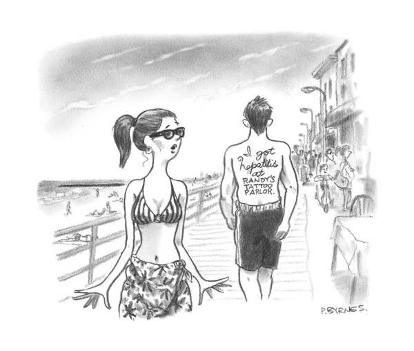 Summer Drawing - A Woman Passes A Man On The Boardwalk. Tattooed by Pat Byrnes