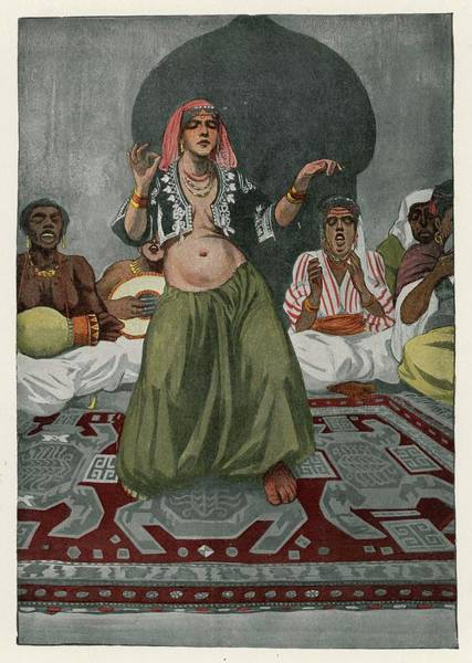 Wall Art - Drawing - A Woman (probably Egyptian) Performs by Mary Evans Picture Library