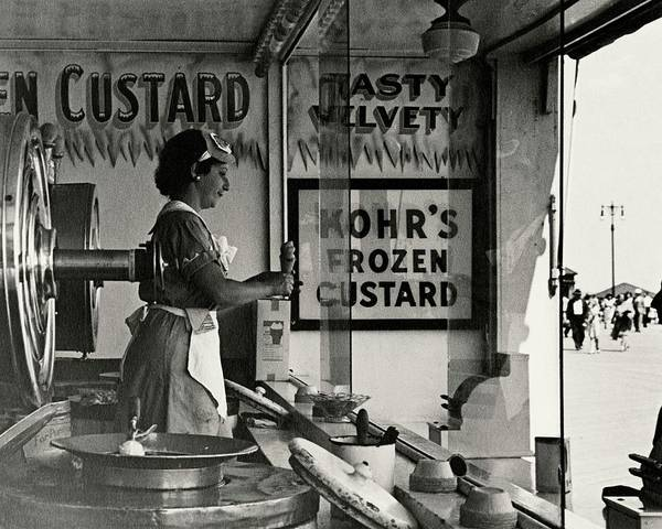 Outdoor Photograph - A Woman Selling Custard by Lusha Nelson