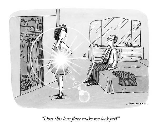 Self Image Drawing - A Woman Shows Her Husband A Shining Lens Flare by Joe Dator