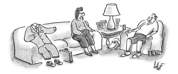 Better Drawing - A Woman Speaks To Her Husband Who Is Sitting by Frank Cotham