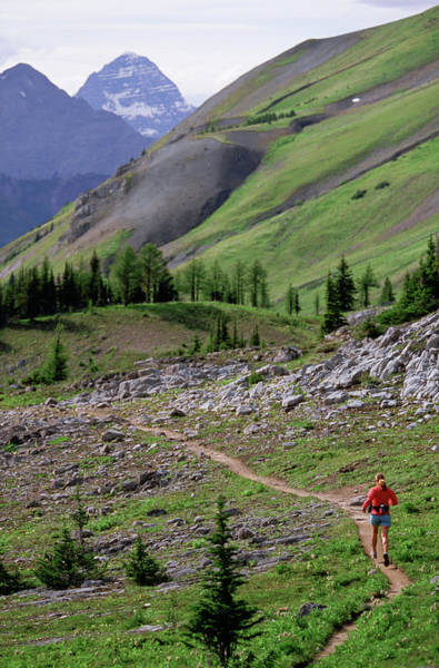 Wall Art - Photograph - A Woman Trail Running In The Canadian by Woods Wheatcroft