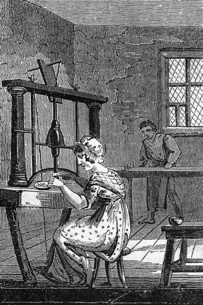 Wall Art - Drawing - A Woman Uses A Foot Pedal To  Operate by Mary Evans Picture Library