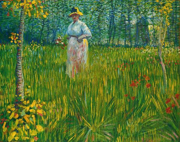 Painting - A Woman Walking In A Garden Van Gogh 1887 by Movie Poster Prints