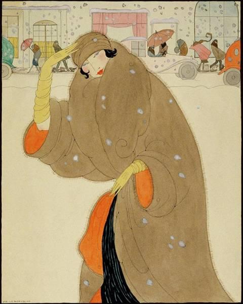 Snow Digital Art - A Woman Wearing A Brown Coat by Helen Dryden