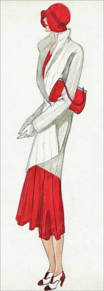 Wall Art - Digital Art - A Woman Wearing A Ermine Coat And Red Dress by David