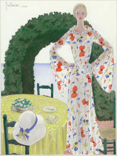 A Woman Wearing A Floral Dress Art Print by Georges Lepape