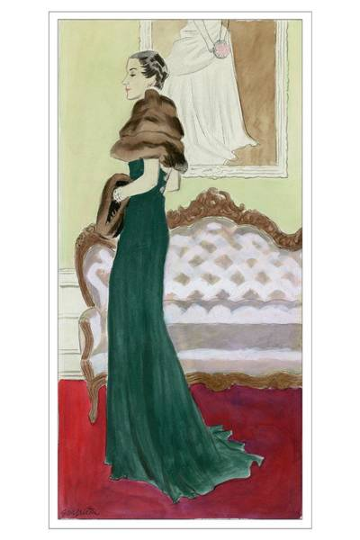 Standing Digital Art - A Woman Wearing A Green Dress by R.S. Grafstrom