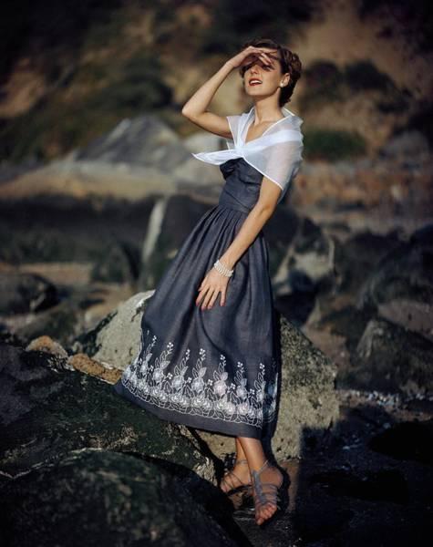 Flower Photograph - A Woman Wearing A Linen Dress by Frances Mclaughlin-Gill