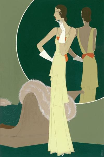 A Woman Wearing A Mainbocher Dress Art Print