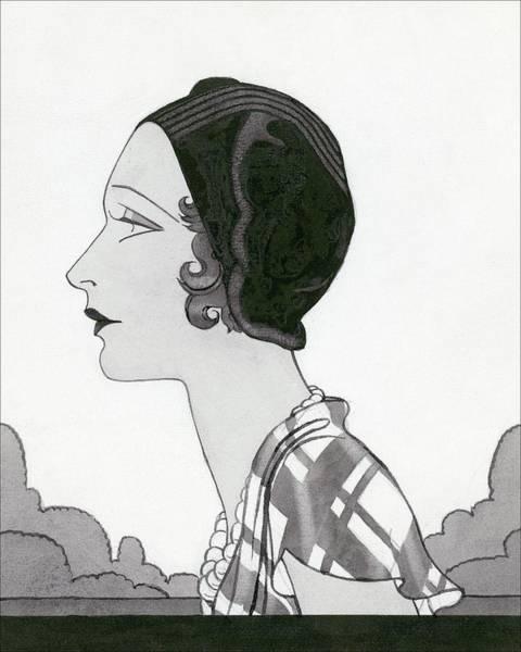 Vogue Digital Art - A Woman Wearing A Marie-christiane Hat by Douglas Pollard