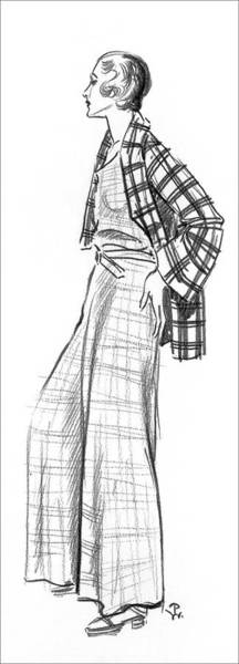 A Woman Wearing A Plaid Outfit Art Print