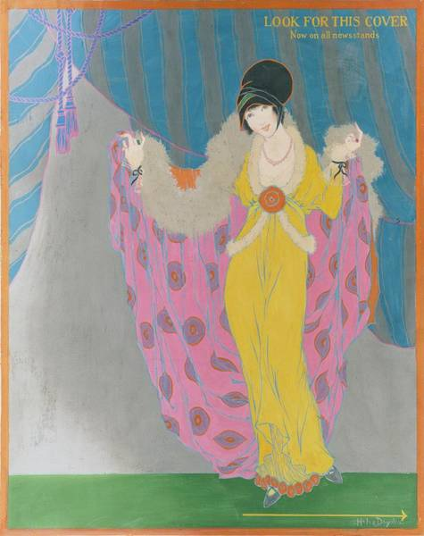 Vogue Digital Art - A Woman Wearing A Purple Cape by Helen Dryden