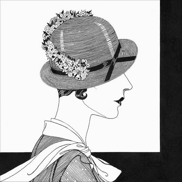 White Background Digital Art - A Woman Wearing A Reboux Hat by Douglas Pollard