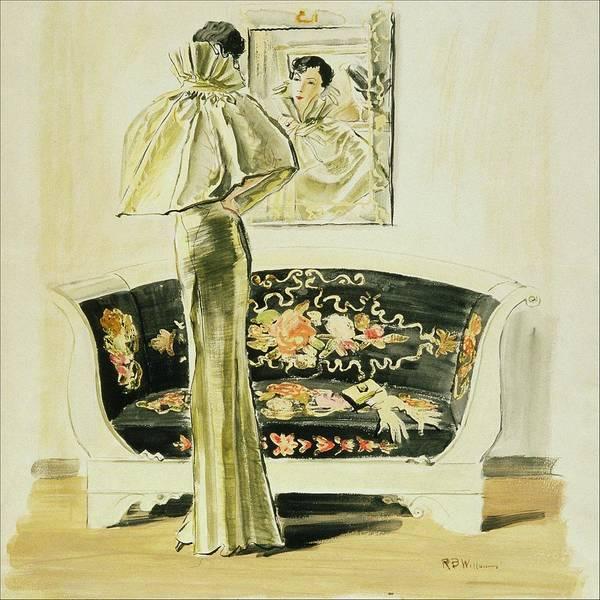 Vogue Digital Art - A Woman Wearing A Schiaparelli Evening Gown by Rene Bouet-Willaumez
