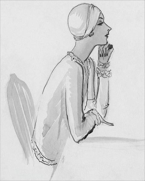White Background Digital Art - A Woman Wearing A Turban by Porter Woodruff