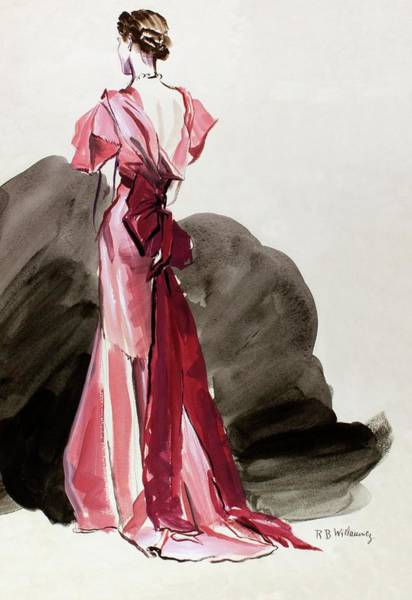 Standing Digital Art - A Woman Wearing A Vionnet Dress by Rene Bouet-Willaumez