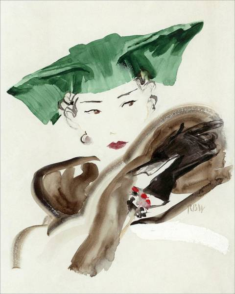 Headgear Digital Art - A Woman Wearing An Agnes Hat by Rene Bouet-Willaumez