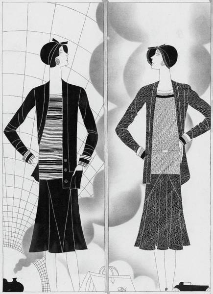 Black And White Digital Art - A Woman Wearing An Ensembles By Lelong And Hats by Raymond Bret-Koch