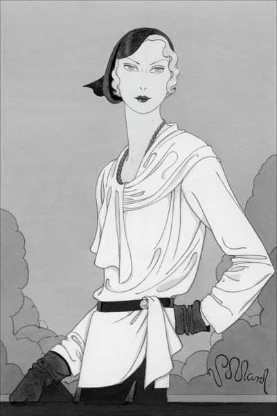 Vogue Digital Art - A Woman Wearing Designer Clothing by Douglas Pollard