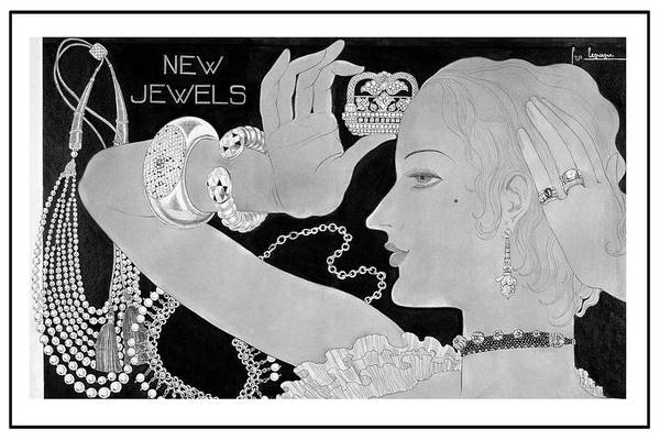 Jewels Digital Art - A Woman Wearing Designer Jewelry by Georges Lepape