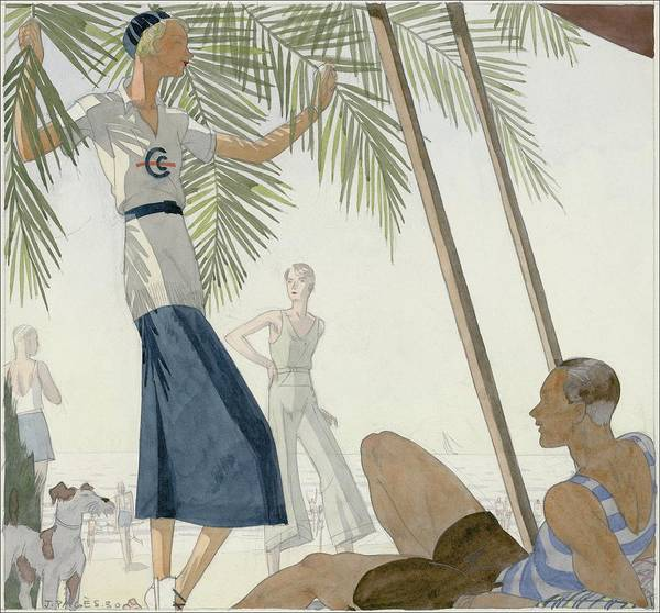 A Woman Wearing Patou Clothing At The Beach Art Print by Jean Pages