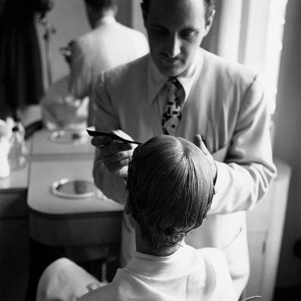 Mirror Photograph - A Woman With A Hairdresser by Frances Mclaughlin-Gill
