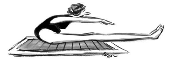 Mat Drawing - A Woman With Short Arms Tries To Reach Her Toes by Lee Lorenz