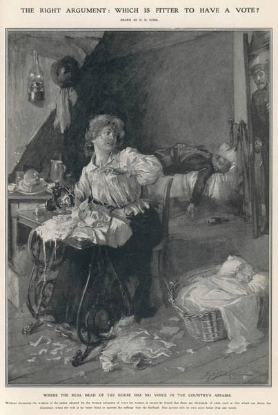 Wall Art - Drawing - A Woman Works From Home And  Looks by  Illustrated London News Ltd/Mar