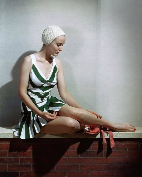Stripe Photograph - A Women In A Bathing Suit by Horst P. Horst