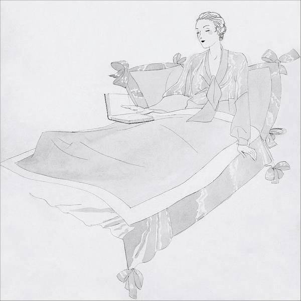 Bed Digital Art - A Women Sitting In Bed With A Book by Jean Pages
