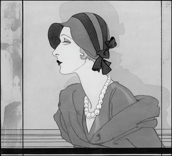Vogue Digital Art - A Women Wearing A Bonnet And A Pearl Necklace by Douglas Pollard