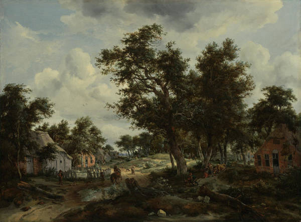Meindert Hobbema Painting - A Wooded Landscape With Travelers On A Path by Litz Collection