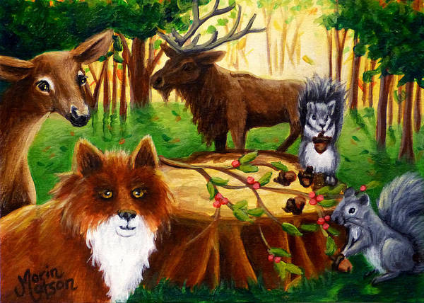 Painting - A Woodland Thanksgiving by Monique Morin Matson