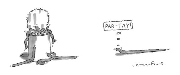 Saying Drawing - A Worm Is Approaching A Can Full Of Worms And by Michael Crawford