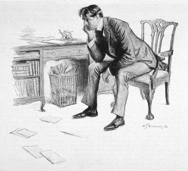 Litter Drawing - A Writer, Afflicted By  Writer's Block by Mary Evans Picture Library
