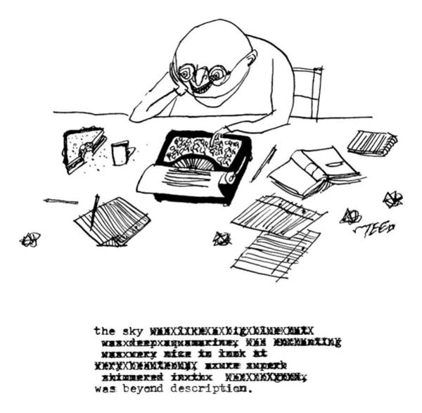 2014 Drawing - A Writer Relaxes Behind His Typewriter by Edward Steed