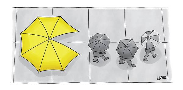 Ghosts Drawing - A Yellow Umbrella With A Pacman Mouth by Christian Lowe