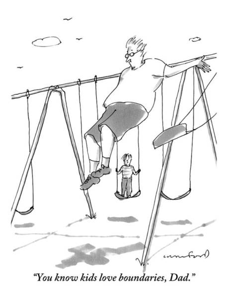 Parents Drawing - A Young Boy On A Swingset To His Father by Michael Crawford