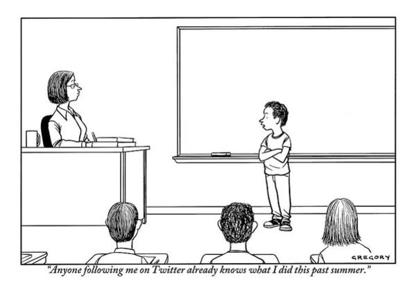 Facebook Drawing - A Young Boy Presents In Front Of His Teacher by Alex Gregory