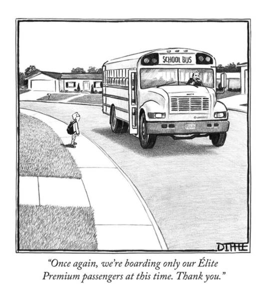 Schools Drawing - A Young Boy Waits Beside A School Bus by Matthew Diffee