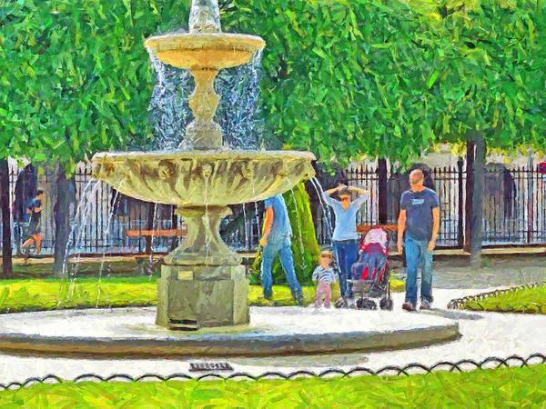 Digital Art - A Young Family At A Park In Paris by Digital Photographic Arts