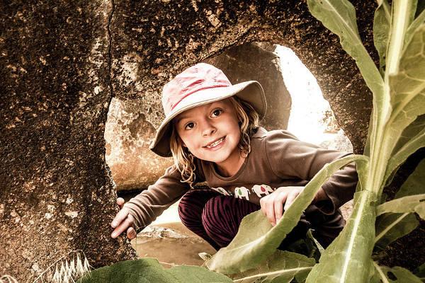 Fruita Photograph - A Young Girl Exploring  Granite Pothole by Kennan Harvey