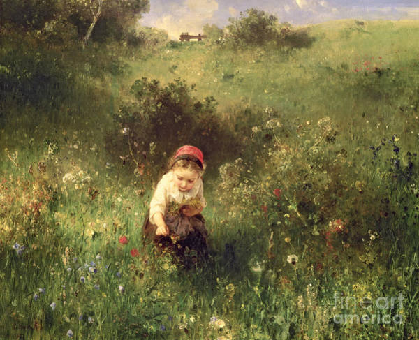Pickers Wall Art - Painting - A Young Girl In A Field by Ludwig Knaus
