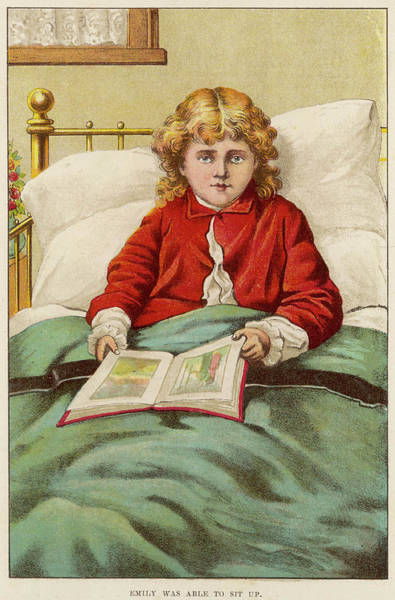 Wall Art - Drawing - A Young Girl Reads A Picture  Book by Mary Evans Picture Library