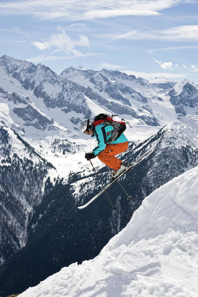 Wall Art - Photograph - A Young Man Gets Some Air Skiing by Henry Georgi