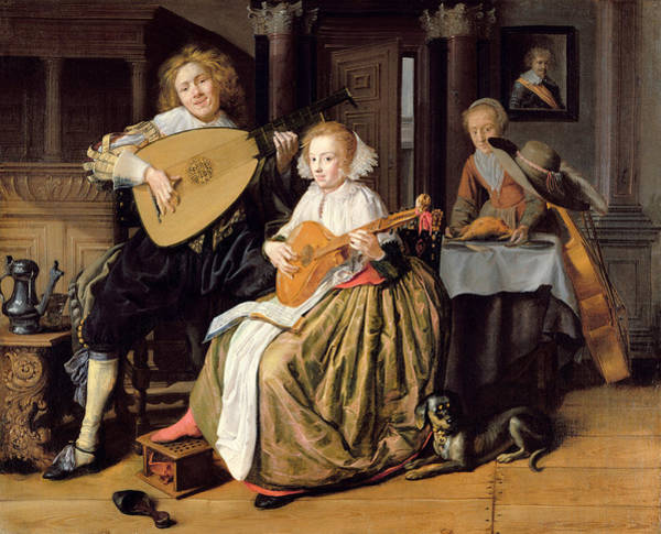 Courtship Photograph - A Young Man Playing A Theorbo And A Young Woman Playing A Cittern, C.1630-32 Oil On Canvas by Jan Miense Molenaer