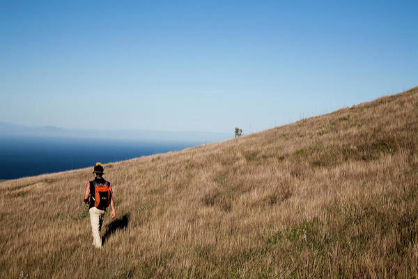 Channel Islands Photograph - A Young Man Walks Through Wild Grasses by Michael Hanson