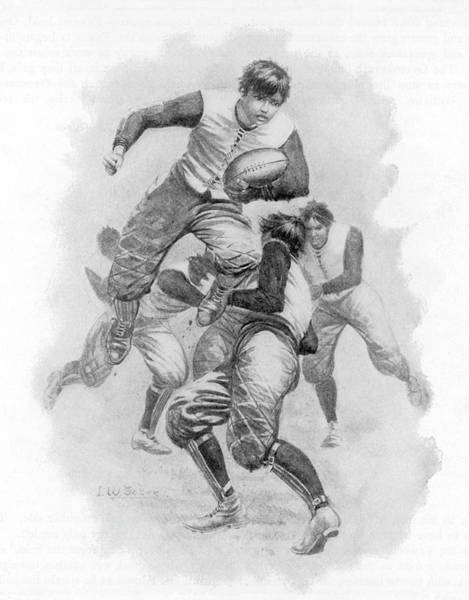 Wall Art - Drawing - A Young Player Leaps Through A  Tackle by Mary Evans Picture Library